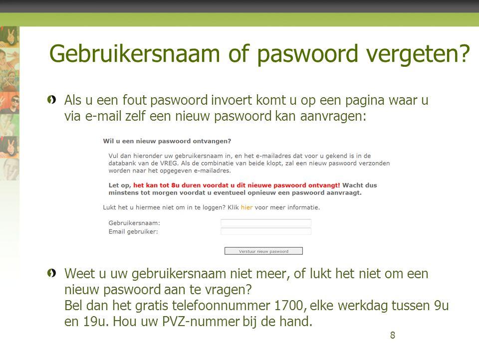 Gebruikersnaam of paswoord vergeten.
