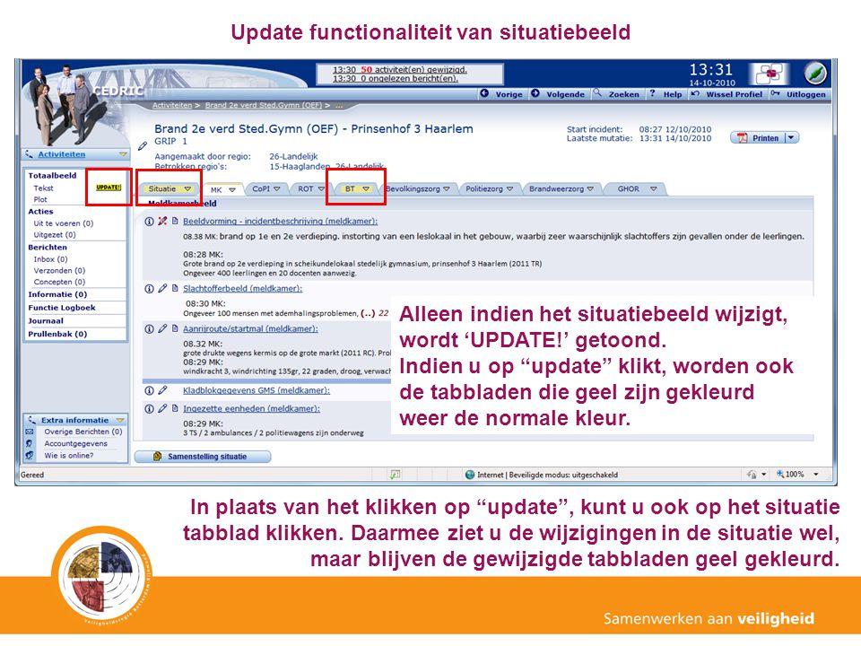 """Update functionaliteit van situatiebeeld Alleen indien het situatiebeeld wijzigt, wordt 'UPDATE!' getoond. Indien u op """"update"""" klikt, worden ook de t"""