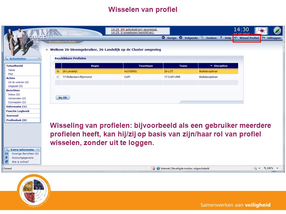 Wisselen van profiel Wisseling van profielen: bijvoorbeeld als een gebruiker meerdere profielen heeft, kan hij/zij op basis van zijn/haar rol van prof