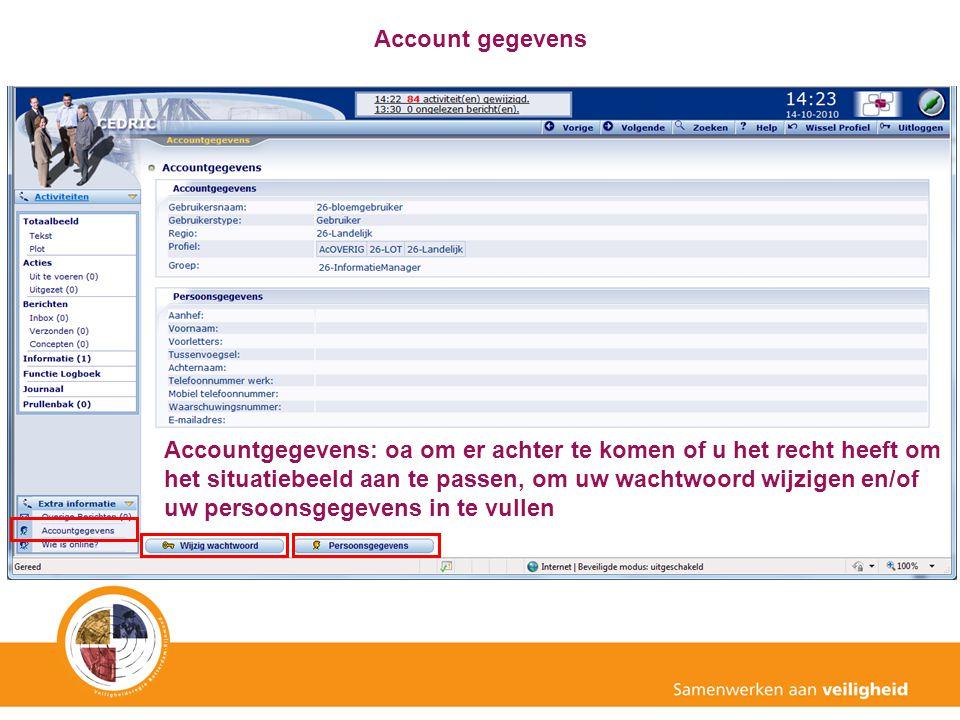 Account gegevens Accountgegevens: oa om er achter te komen of u het recht heeft om het situatiebeeld aan te passen, om uw wachtwoord wijzigen en/of uw
