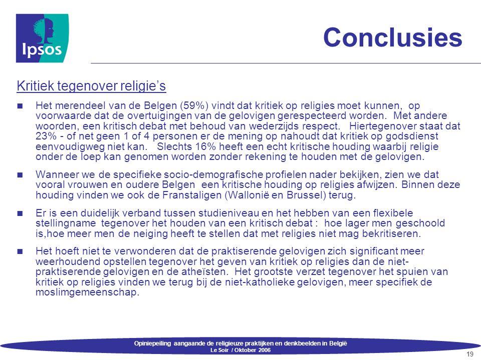 Opiniepeiling aangaande de religieuze praktijken en denkbeelden in België Le Soir / Oktober 2006 19 Conclusies Kritiek tegenover religie's  Het meren