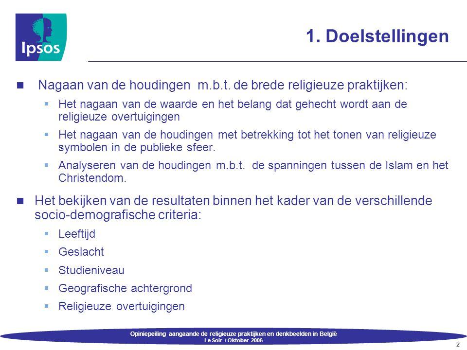 Opiniepeiling aangaande de religieuze praktijken en denkbeelden in België Le Soir / Oktober 2006 2 1. Doelstellingen  Nagaan van de houdingen m.b.t.