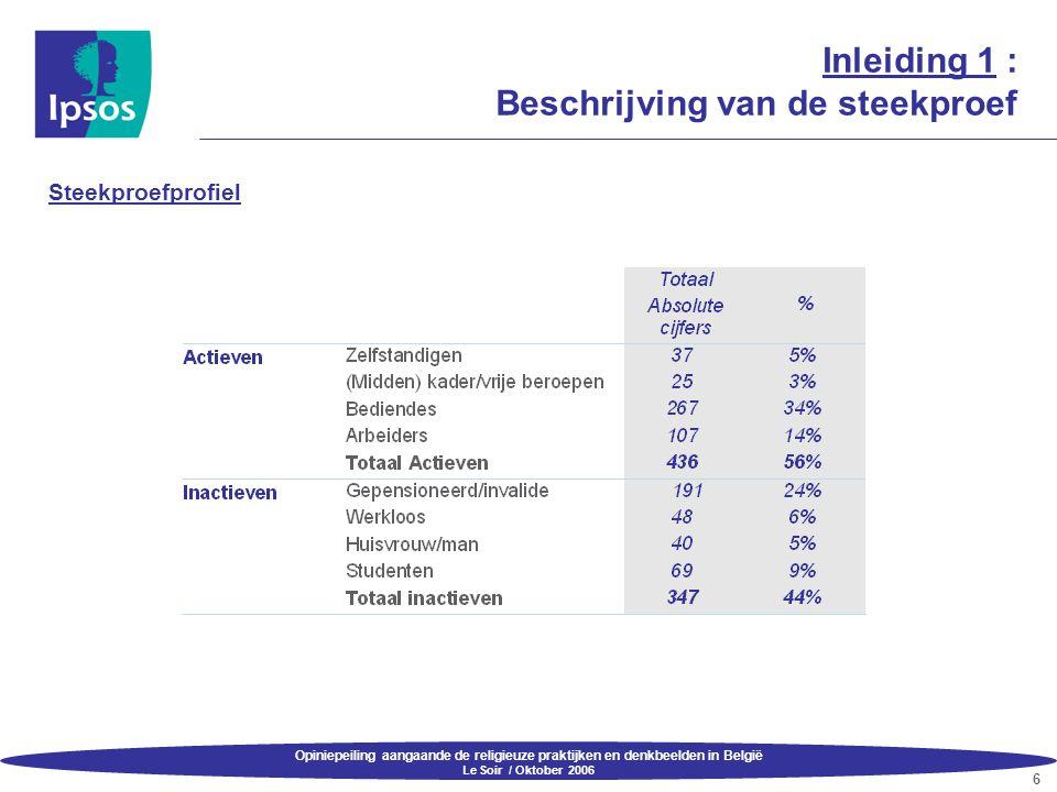 Opiniepeiling aangaande de religieuze praktijken en denkbeelden in België Le Soir / Oktober 2006 17 3.