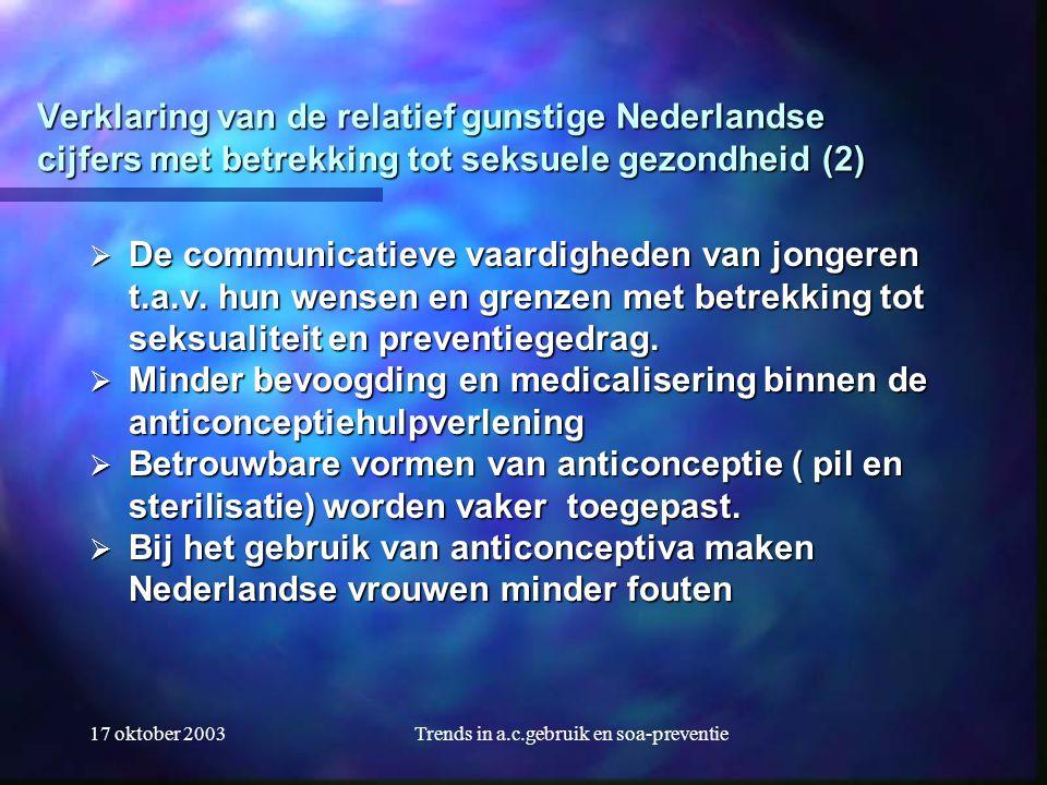 17 oktober 2003Trends in a.c.gebruik en soa-preventie Verklaring van de relatief gunstige Nederlandse cijfers met betrekking tot seksuele gezondheid (