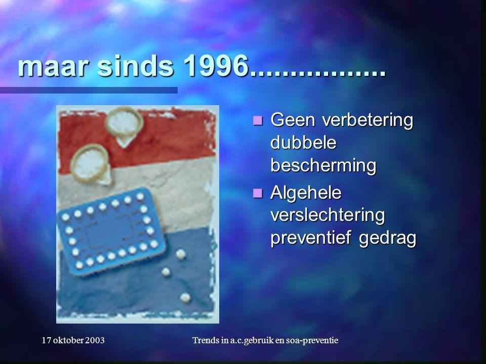 17 oktober 2003Trends in a.c.gebruik en soa-preventie maar sinds 1996.................  Geen verbetering dubbele bescherming  Algehele verslechterin