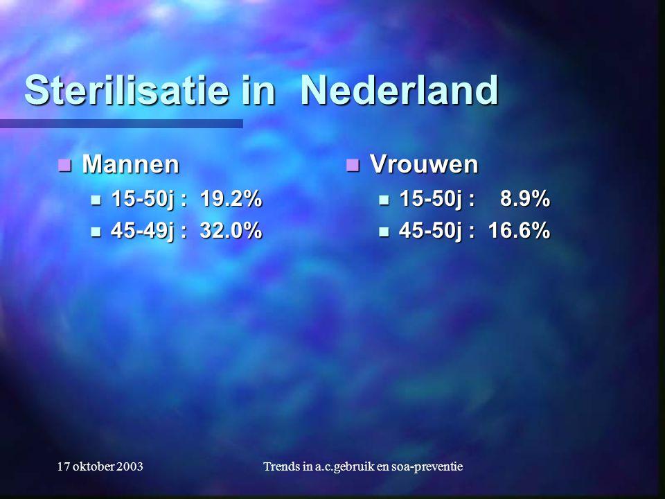 17 oktober 2003Trends in a.c.gebruik en soa-preventie Sterilisatie in Nederland  Mannen  15-50j : 19.2%  45-49j : 32.0%  Vrouwen  15-50j : 8.9% 