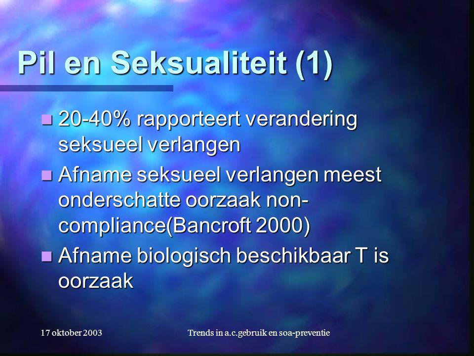 17 oktober 2003Trends in a.c.gebruik en soa-preventie Pil en Seksualiteit (1)  20-40% rapporteert verandering seksueel verlangen  Afname seksueel ve