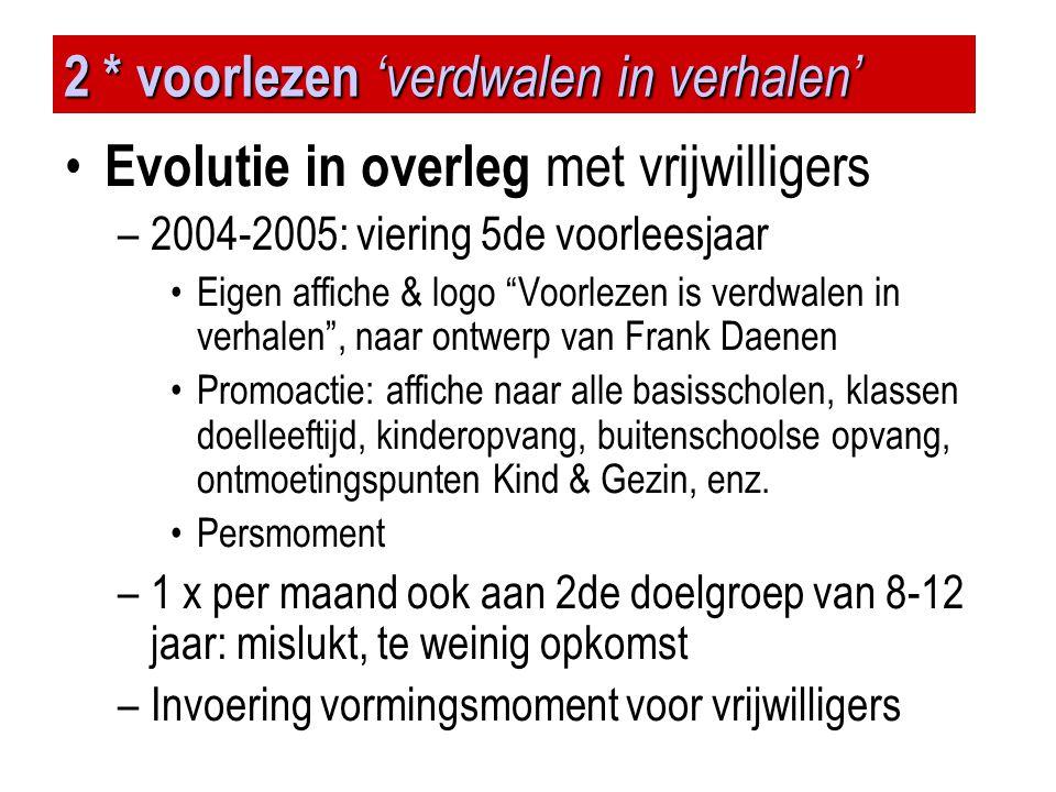 """2 * voorlezen 'verdwalen in verhalen' • Evolutie in overleg met vrijwilligers –2004-2005: viering 5de voorleesjaar •Eigen affiche & logo """"Voorlezen is"""