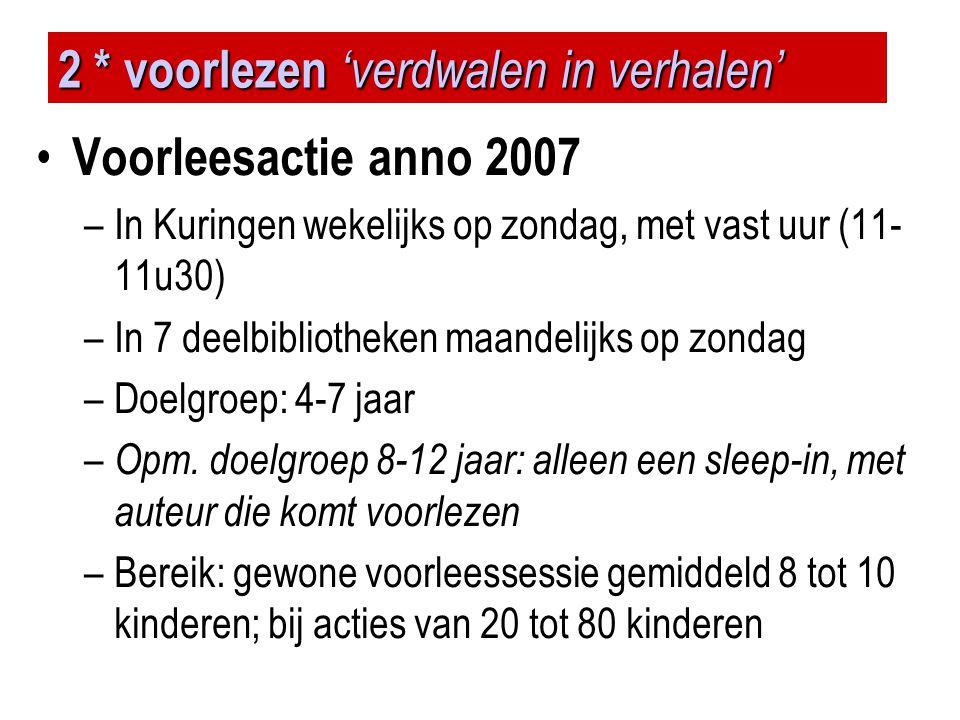 2 * voorlezen 'verdwalen in verhalen' • Voorleesactie anno 2007 –In Kuringen wekelijks op zondag, met vast uur (11- 11u30) –In 7 deelbibliotheken maan