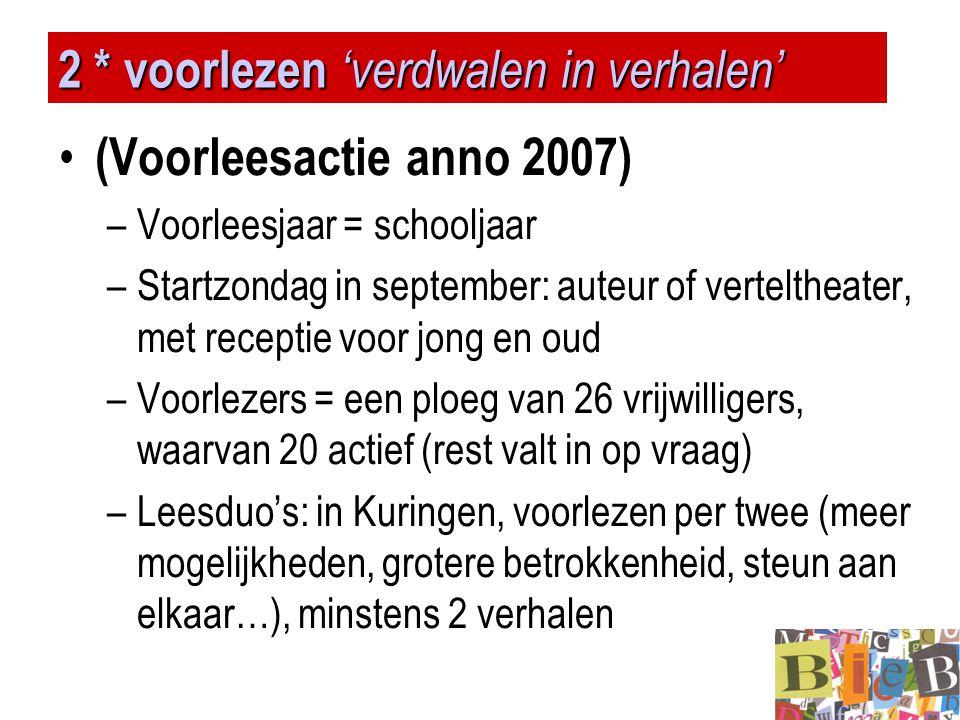 2 * voorlezen 'verdwalen in verhalen' • (Voorleesactie anno 2007) –Voorleesjaar = schooljaar –Startzondag in september: auteur of verteltheater, met r