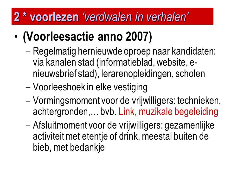 2 * voorlezen 'verdwalen in verhalen' • (Voorleesactie anno 2007) –Regelmatig hernieuwde oproep naar kandidaten: via kanalen stad (informatieblad, web