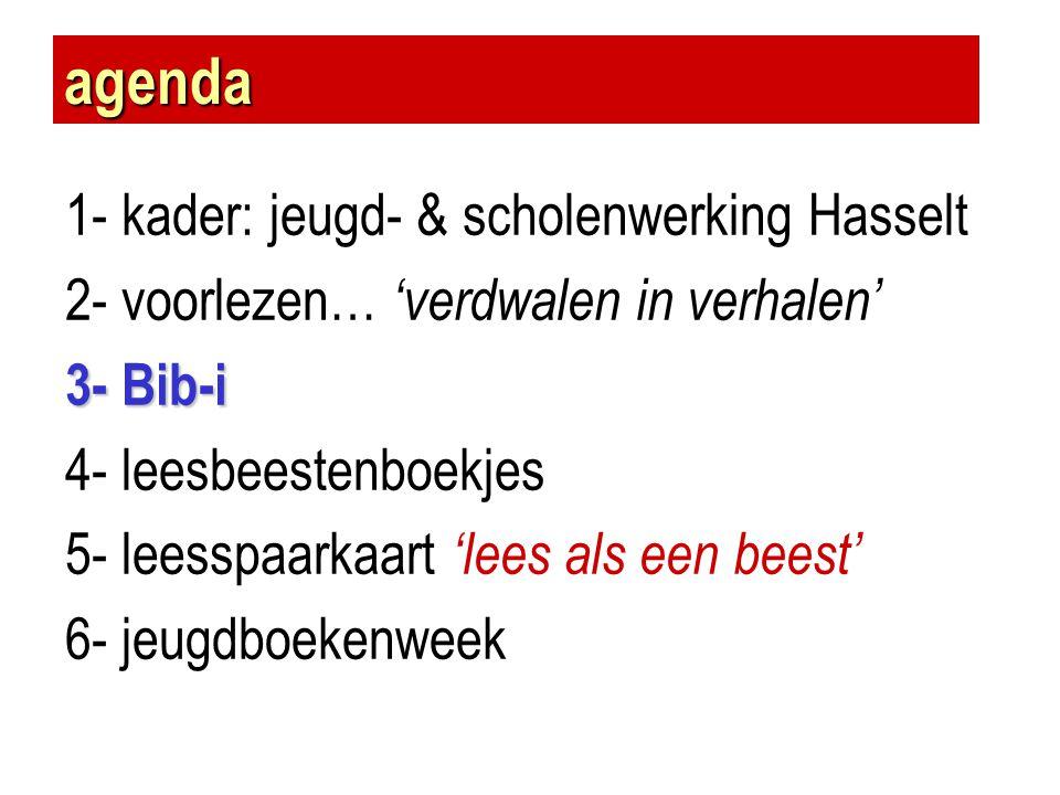 agenda 1- kader: jeugd- & scholenwerking Hasselt 2- voorlezen… 'verdwalen in verhalen' 3- Bib-i 4- leesbeestenboekjes 5- leesspaarkaart 'lees als een