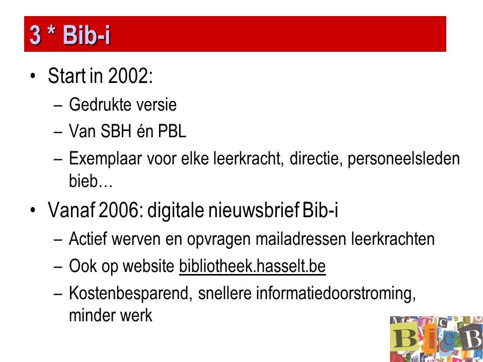 3 * Bib-i •Start in 2002: –Gedrukte versie –Van SBH én PBL –Exemplaar voor elke leerkracht, directie, personeelsleden bieb… •Vanaf 2006: digitale nieu