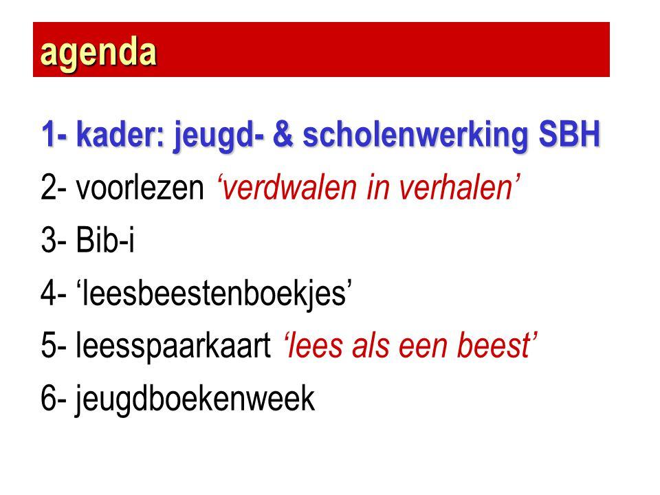 agenda 1- kader: jeugd- & scholenwerking SBH 2- voorlezen 'verdwalen in verhalen' 3- Bib-i 4- 'leesbeestenboekjes' 5- leesspaarkaart 'lees als een bee