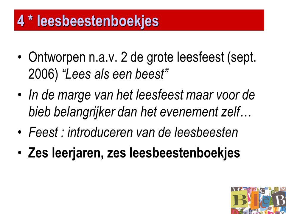 """4 * leesbeestenboekjes •Ontworpen n.a.v. 2 de grote leesfeest (sept. 2006) """"Lees als een beest"""" • In de marge van het leesfeest maar voor de bieb bela"""