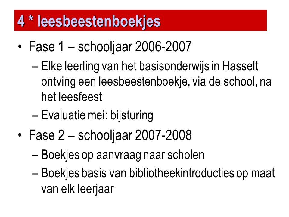 4 * leesbeestenboekjes •Fase 1 – schooljaar 2006-2007 –Elke leerling van het basisonderwijs in Hasselt ontving een leesbeestenboekje, via de school, n