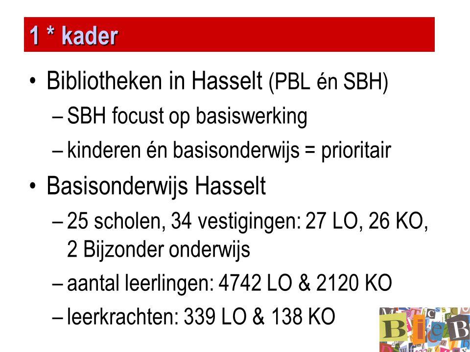 1 * kader •Bibliotheken in Hasselt (PBL én SBH) –SBH focust op basiswerking –kinderen én basisonderwijs = prioritair •Basisonderwijs Hasselt –25 schol