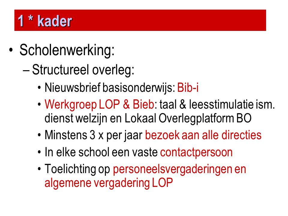 1 * kader •Scholenwerking: –Structureel overleg: •Nieuwsbrief basisonderwijs: Bib-i •Werkgroep LOP & Bieb: taal & leesstimulatie ism. dienst welzijn e