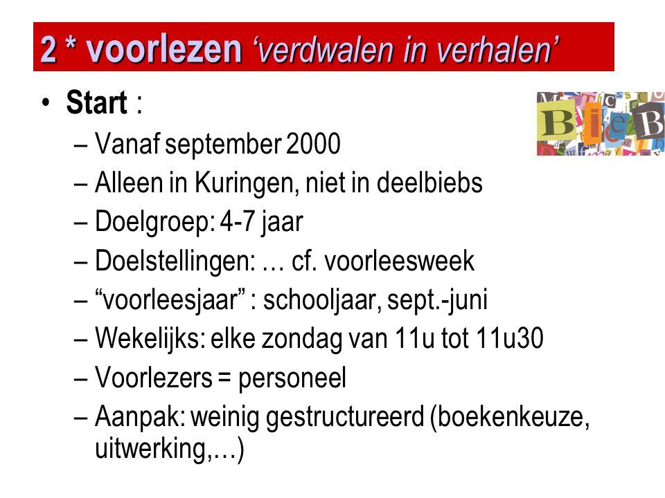 2 * voorlezen 'verdwalen in verhalen' • Start : –Vanaf september 2000 –Alleen in Kuringen, niet in deelbiebs –Doelgroep: 4-7 jaar –Doelstellingen: … c