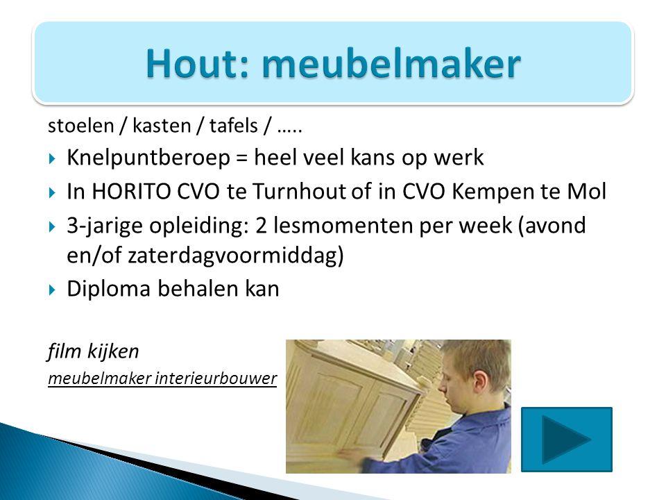 stoelen / kasten / tafels / …..  Knelpuntberoep = heel veel kans op werk  In HORITO CVO te Turnhout of in CVO Kempen te Mol  3-jarige opleiding: 2