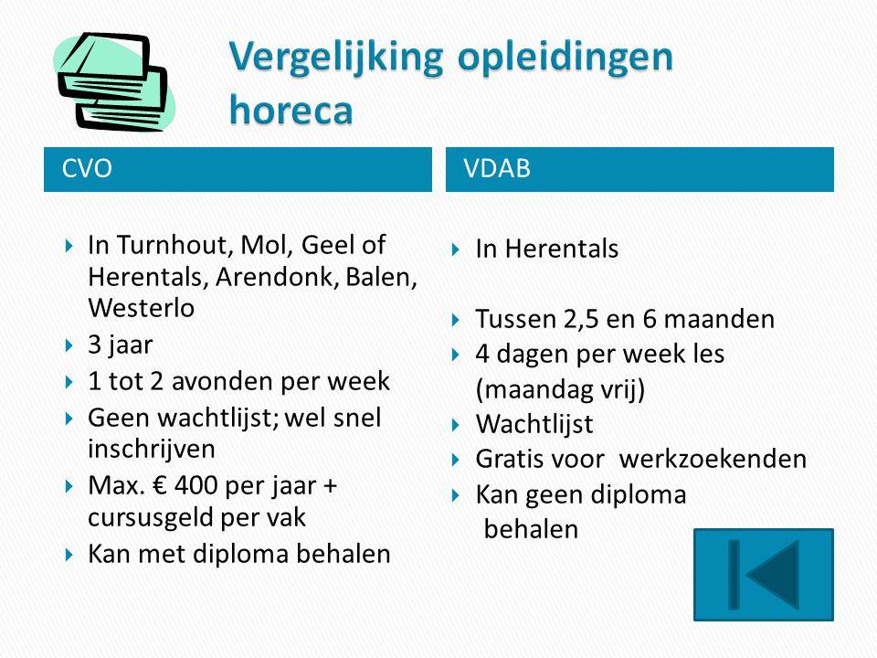 CVOVDAB  In Turnhout, Mol, Geel of Herentals, Arendonk, Balen, Westerlo  3 jaar  1 tot 2 avonden per week  Geen wachtlijst; wel snel inschrijven 
