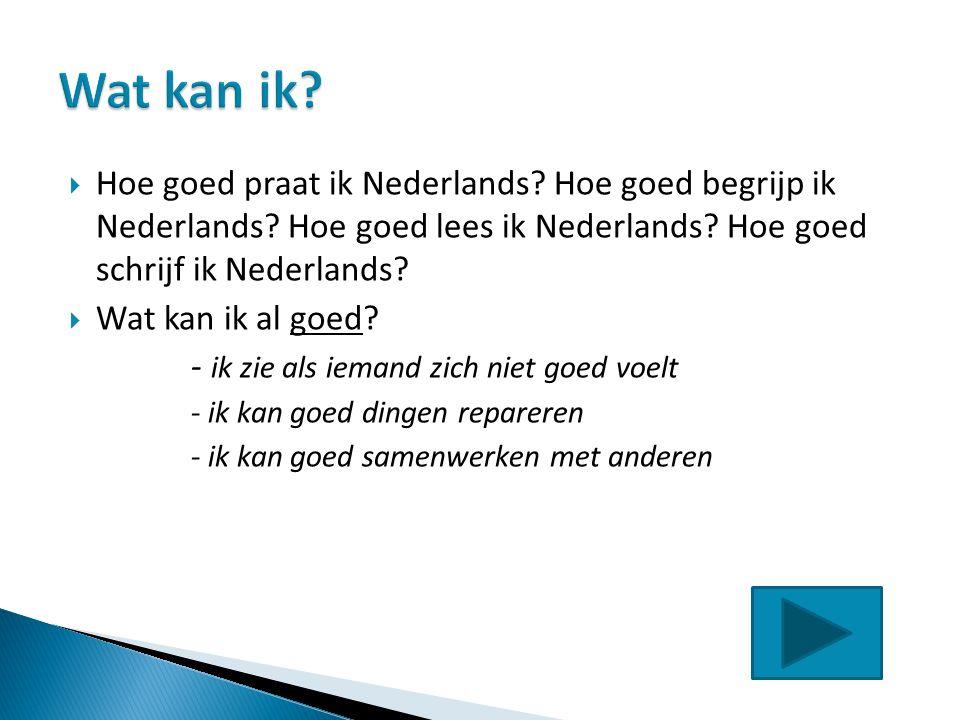  Hoe goed praat ik Nederlands? Hoe goed begrijp ik Nederlands? Hoe goed lees ik Nederlands? Hoe goed schrijf ik Nederlands?  Wat kan ik al goed? - i