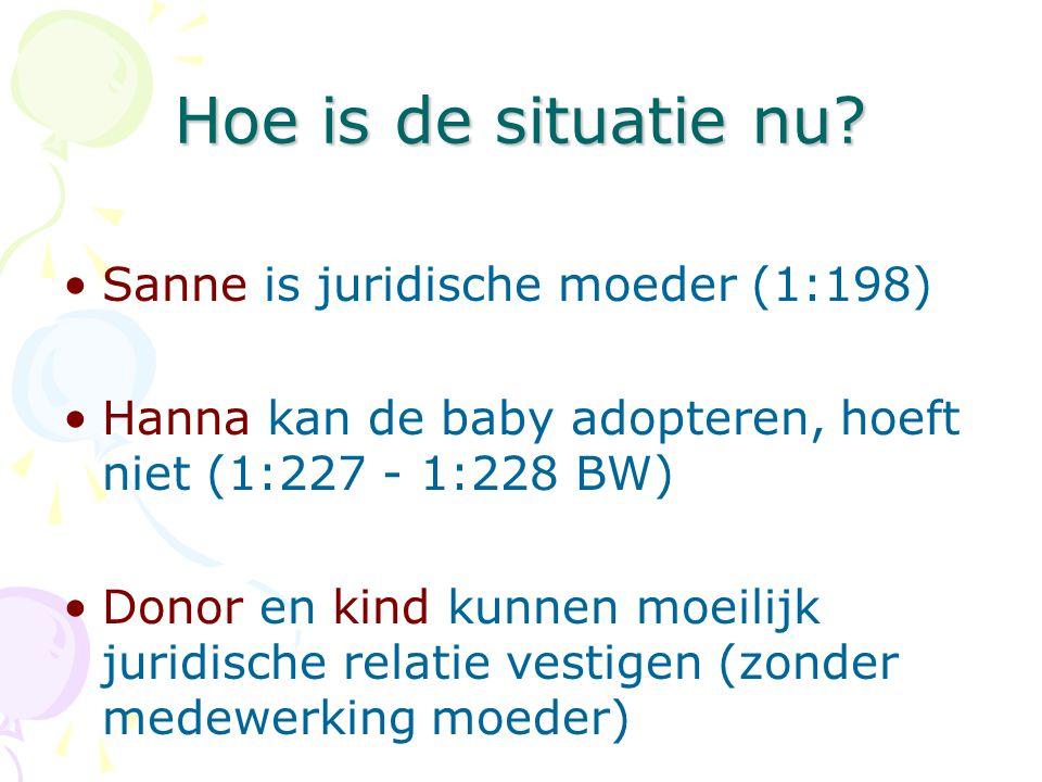 Hoe is de situatie nu? •Sanne is juridische moeder (1:198) •Hanna kan de baby adopteren, hoeft niet (1:227 - 1:228 BW) •Donor en kind kunnen moeilijk