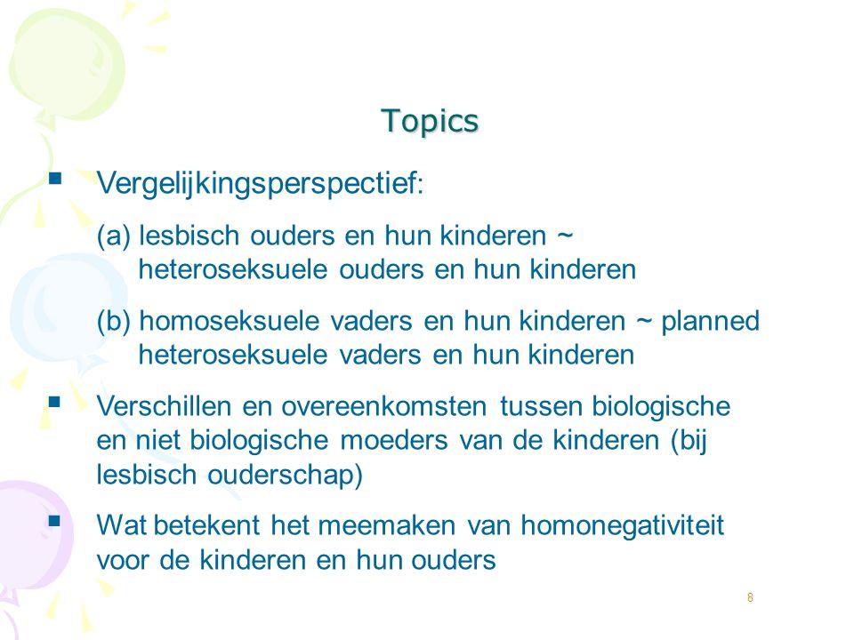 8 Topics  Vergelijkingsperspectief : (a) lesbisch ouders en hun kinderen ~ heteroseksuele ouders en hun kinderen (b) homoseksuele vaders en hun kinde