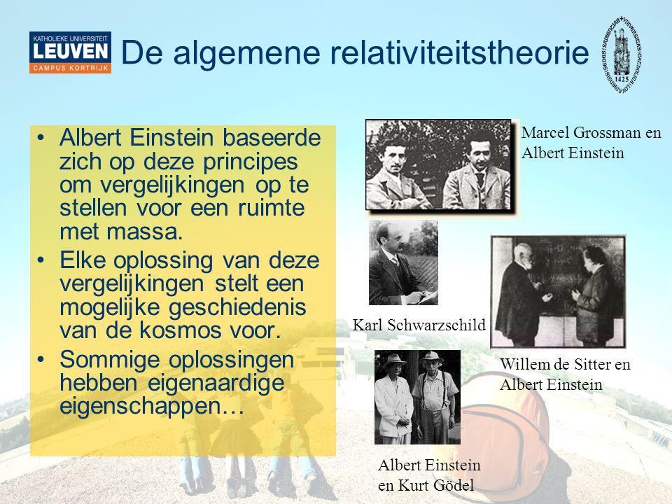 De algemene relativiteitstheorie •Albert Einstein baseerde zich op deze principes om vergelijkingen op te stellen voor een ruimte met massa.