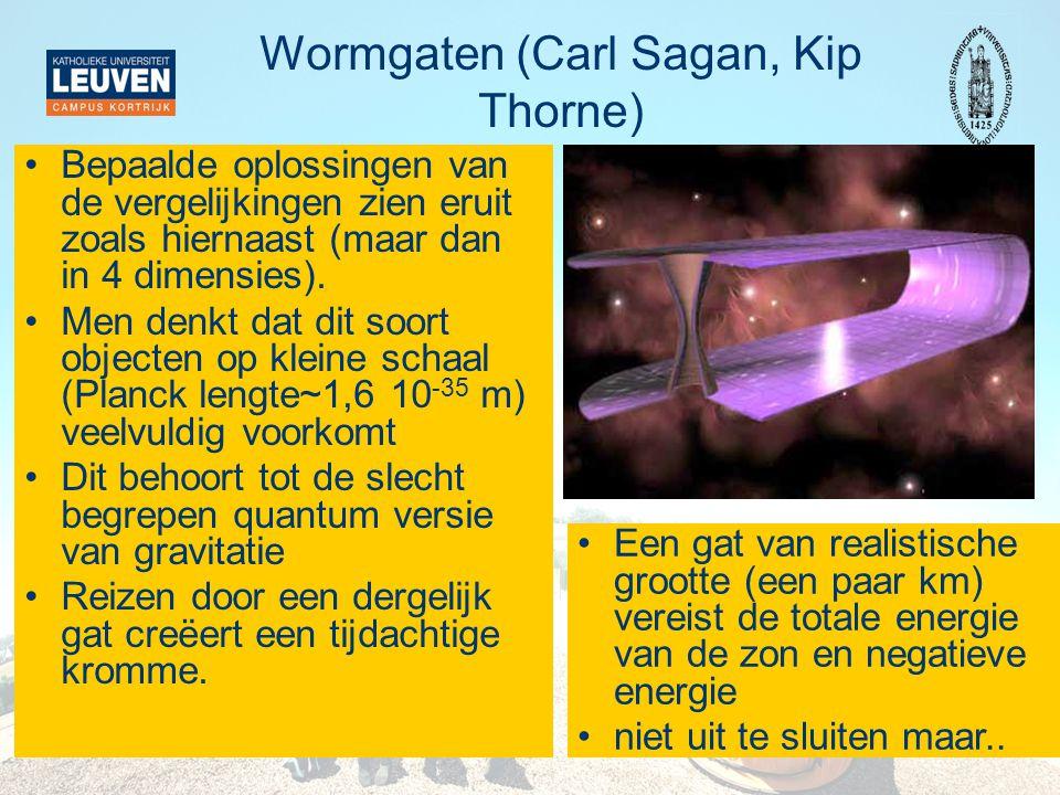 Wormgaten (Carl Sagan, Kip Thorne) •Bepaalde oplossingen van de vergelijkingen zien eruit zoals hiernaast (maar dan in 4 dimensies). •Men denkt dat di