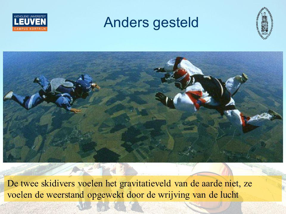 Anders gesteld De twee skidivers voelen het gravitatieveld van de aarde niet, ze voelen de weerstand opgewekt door de wrijving van de lucht