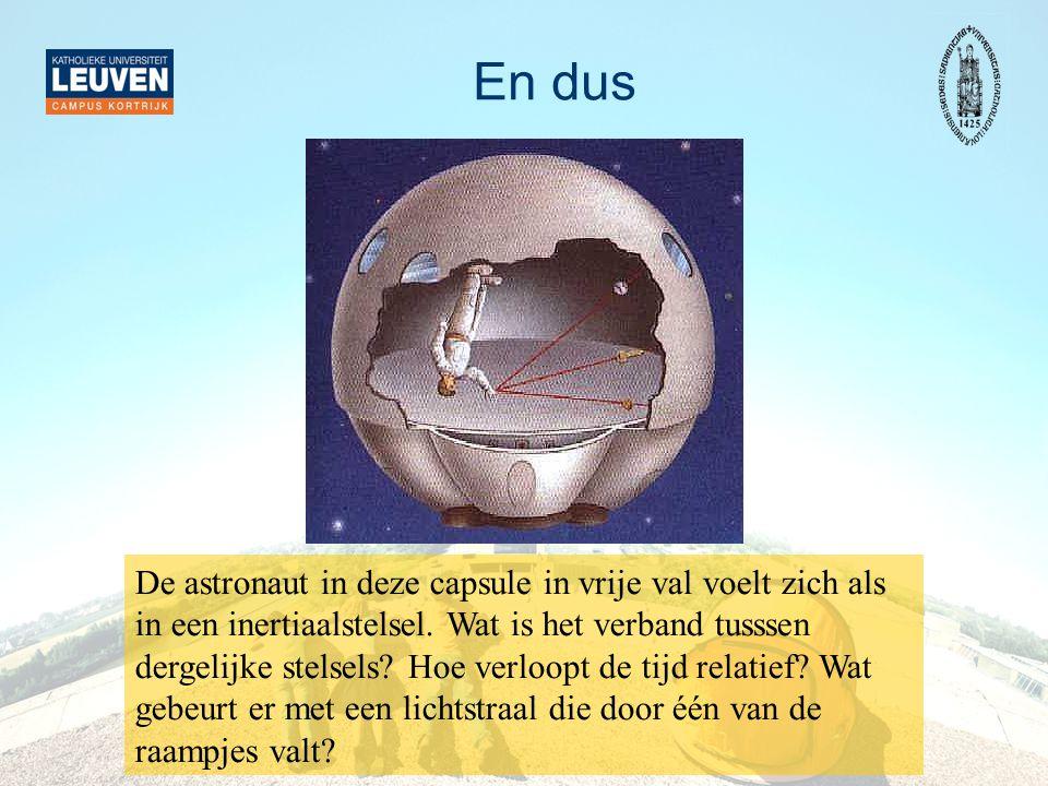 En dus De astronaut in deze capsule in vrije val voelt zich als in een inertiaalstelsel. Wat is het verband tusssen dergelijke stelsels? Hoe verloopt