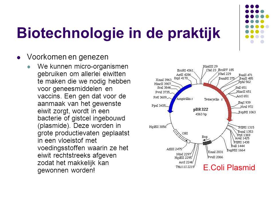 Biotechnologie in de praktijk  Voorkomen en genezen  We kunnen micro-organismen gebruiken om allerlei eiwitten te maken die we nodig hebben voor geneesmiddelen en vaccins.