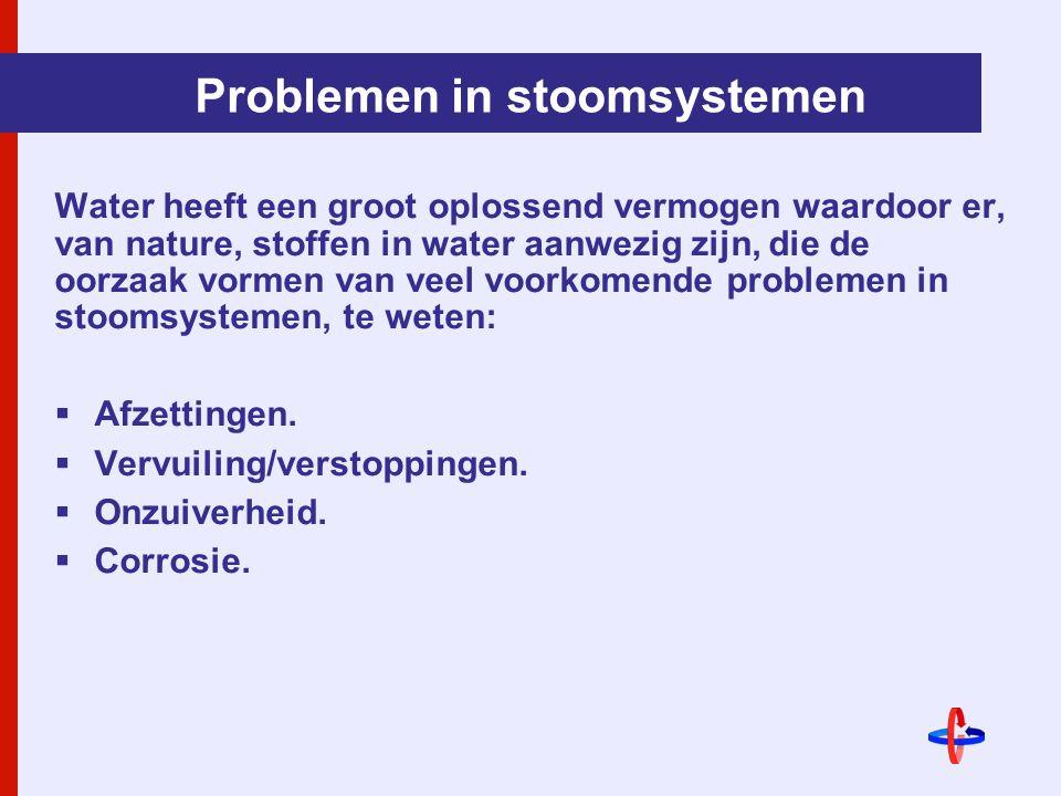 Problemen in stoomsystemen Water heeft een groot oplossend vermogen waardoor er, van nature, stoffen in water aanwezig zijn, die de oorzaak vormen van veel voorkomende problemen in stoomsystemen, te weten:  Afzettingen.
