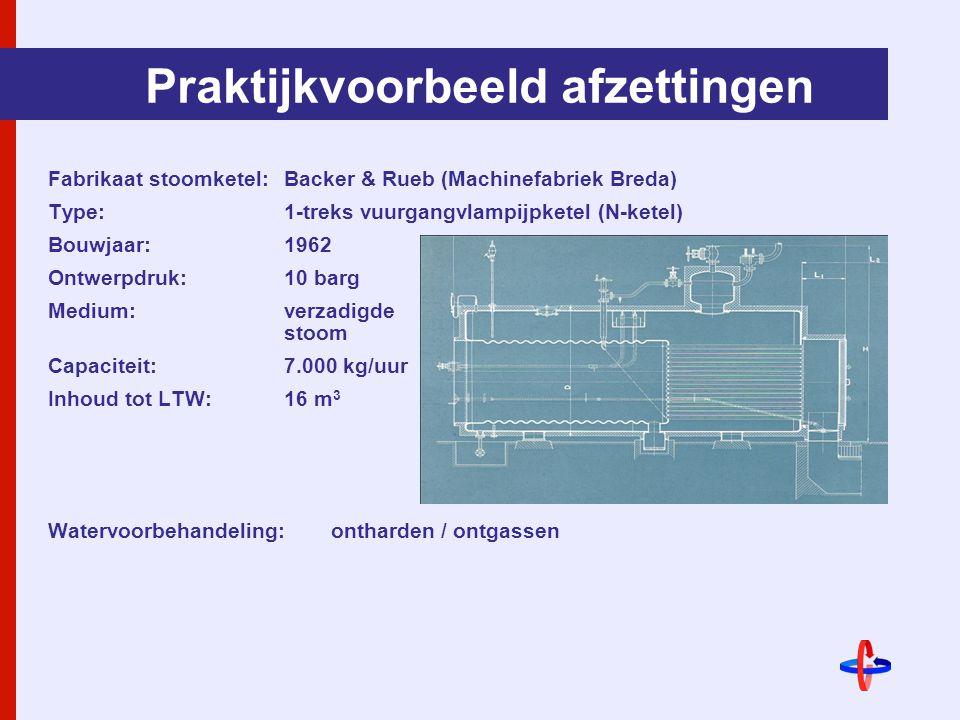 Praktijkvoorbeeld afzettingen Fabrikaat stoomketel: Backer & Rueb (Machinefabriek Breda) Type: 1-treks vuurgangvlampijpketel (N-ketel) Bouwjaar:1962 Ontwerpdruk:10 barg Medium:verzadigde stoom Capaciteit:7.000 kg/uur Inhoud tot LTW:16 m 3 Watervoorbehandeling:ontharden / ontgassen