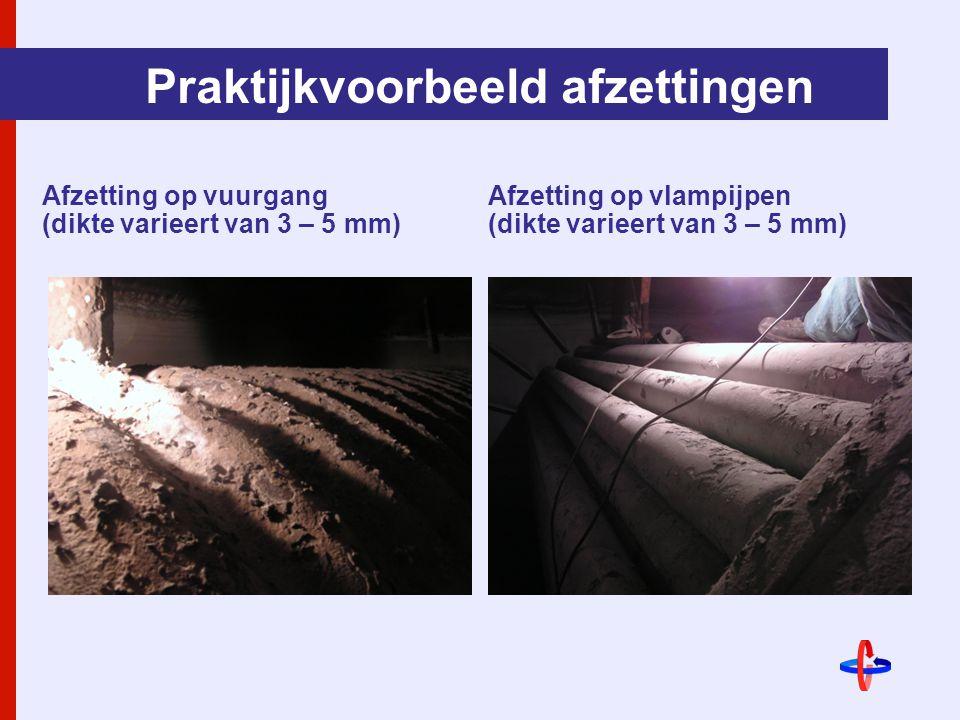 Praktijkvoorbeeld afzettingen Afzetting op vuurgang (dikte varieert van 3 – 5 mm) Afzetting op vlampijpen (dikte varieert van 3 – 5 mm)