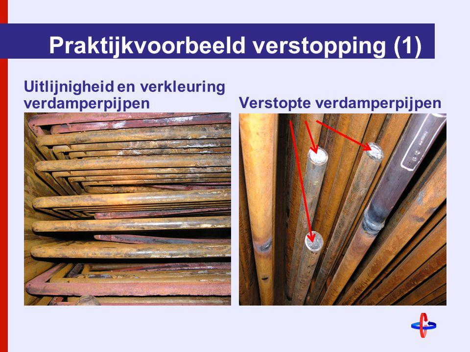 Praktijkvoorbeeld verstopping (1) Uitlijnigheid en verkleuring verdamperpijpenVerstopte verdamperpijpen