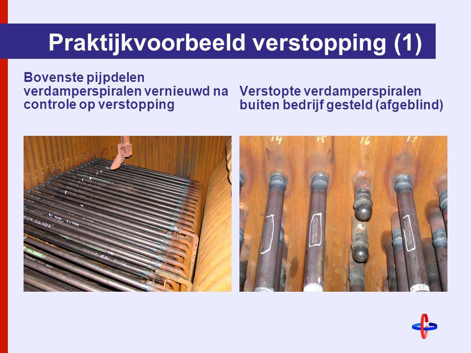 Praktijkvoorbeeld verstopping (1) Bovenste pijpdelen verdamperspiralen vernieuwd na controle op verstopping Verstopte verdamperspiralen buiten bedrijf gesteld (afgeblind)