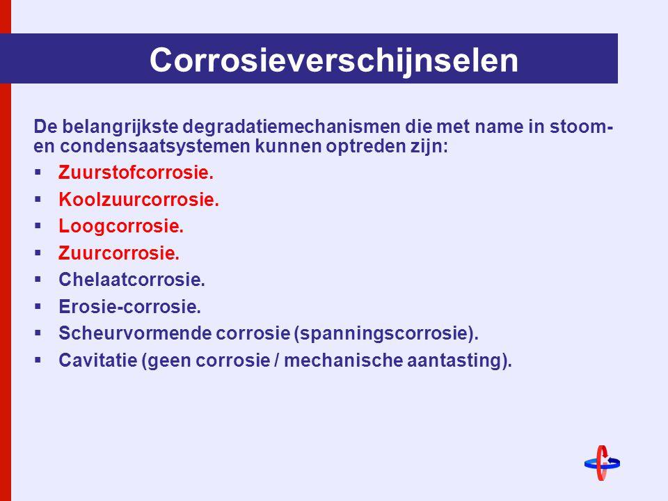 Corrosieverschijnselen De belangrijkste degradatiemechanismen die met name in stoom- en condensaatsystemen kunnen optreden zijn:  Zuurstofcorrosie.