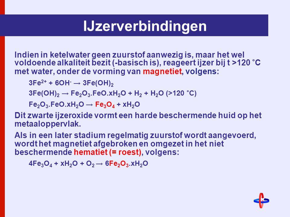 IJzerverbindingen Indien in ketelwater geen zuurstof aanwezig is, maar het wel voldoende alkaliteit bezit (-basisch is), reageert ijzer bij t >120 °C met water, onder de vorming van magnetiet, volgens: 3Fe 2+ + 6OH - → 3Fe(OH) 2 3Fe(OH) 2 → Fe 2 O 3.FeO.xH 2 O + H 2 + H 2 O (>120 °C) Fe 2 O 3.FeO.xH 2 O → Fe 3 O 4 + xH 2 O Dit zwarte ijzeroxide vormt een harde beschermende huid op het metaaloppervlak.