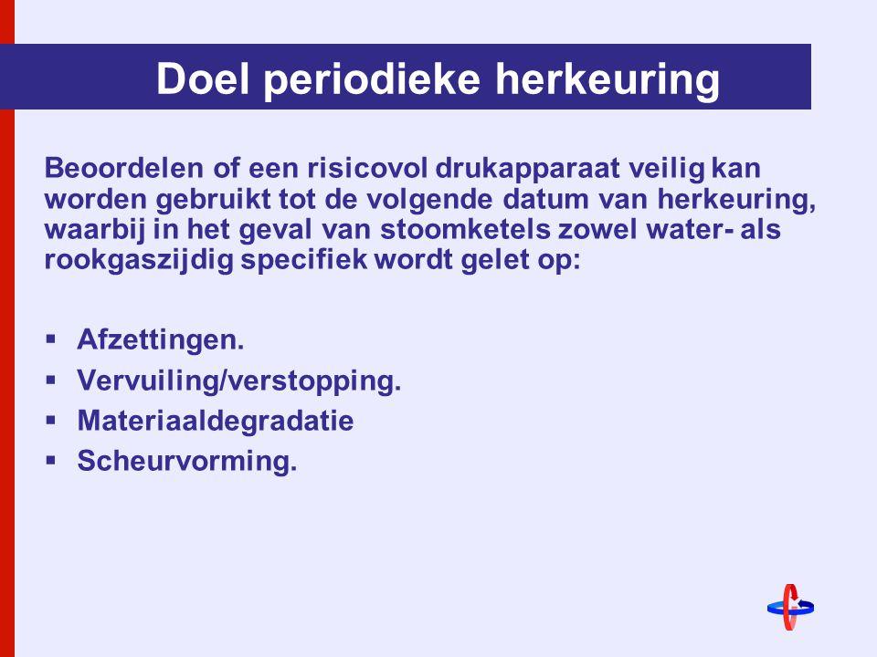 Doel periodieke herkeuring Beoordelen of een risicovol drukapparaat veilig kan worden gebruikt tot de volgende datum van herkeuring, waarbij in het geval van stoomketels zowel water- als rookgaszijdig specifiek wordt gelet op:  Afzettingen.