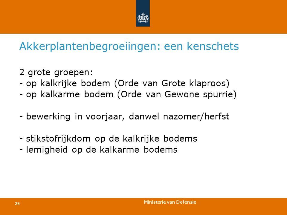 Ministerie van Defensie 25 Akkerplantenbegroeiingen: een kenschets 2 grote groepen: - op kalkrijke bodem (Orde van Grote klaproos) - op kalkarme bodem