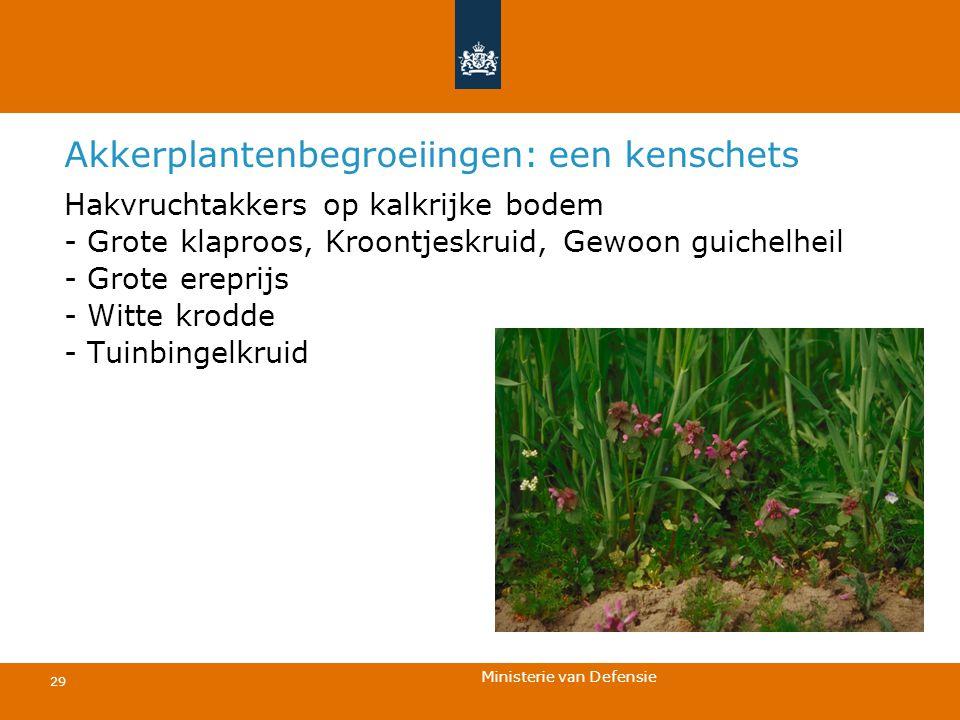 Ministerie van Defensie 29 Akkerplantenbegroeiingen: een kenschets Hakvruchtakkers op kalkrijke bodem - Grote klaproos, Kroontjeskruid, Gewoon guichel