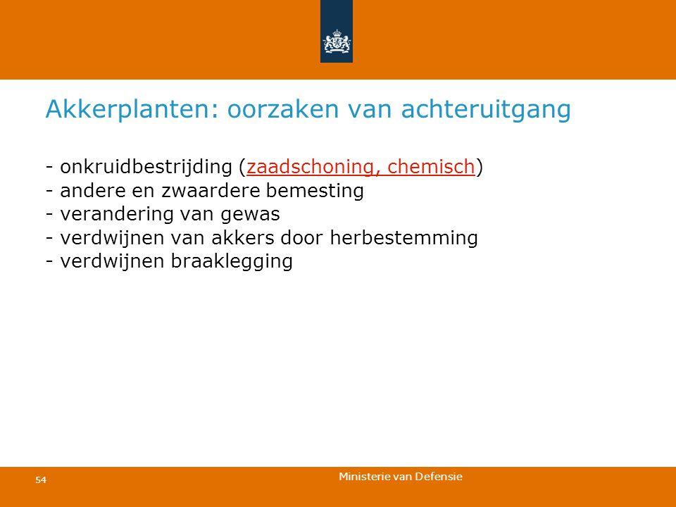 Ministerie van Defensie 54 Akkerplanten: oorzaken van achteruitgang - onkruidbestrijding (zaadschoning, chemisch) - andere en zwaardere bemesting - ve