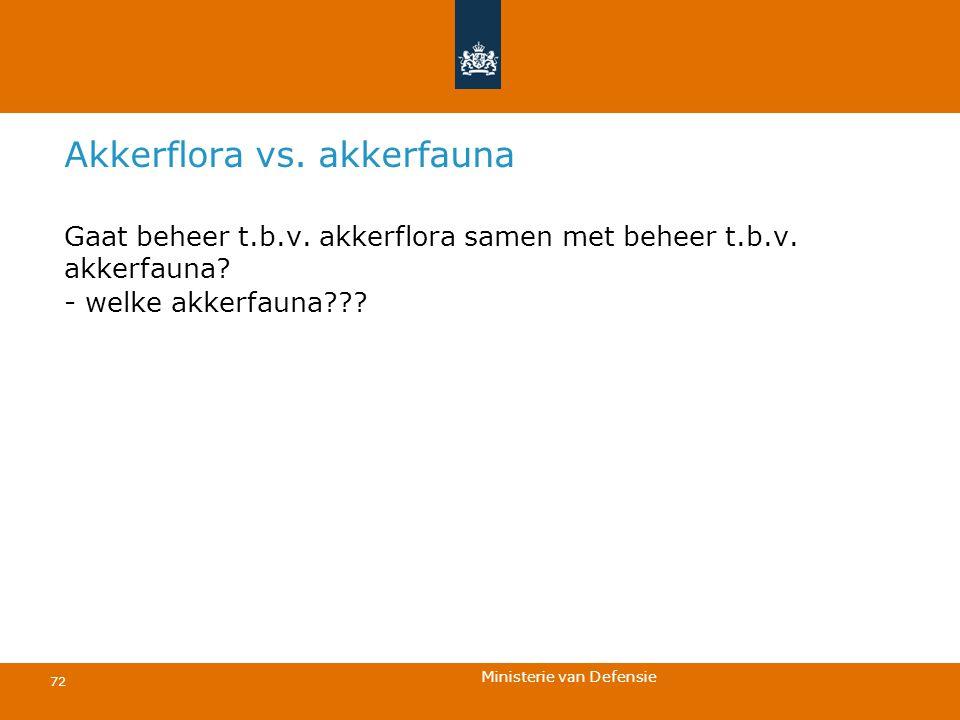 Ministerie van Defensie 72 Akkerflora vs. akkerfauna Gaat beheer t.b.v. akkerflora samen met beheer t.b.v. akkerfauna? - welke akkerfauna???