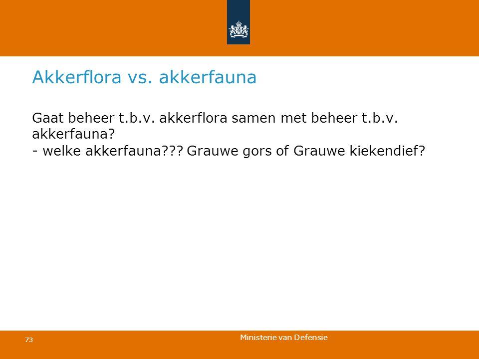 Ministerie van Defensie 73 Akkerflora vs. akkerfauna Gaat beheer t.b.v. akkerflora samen met beheer t.b.v. akkerfauna? - welke akkerfauna??? Grauwe go