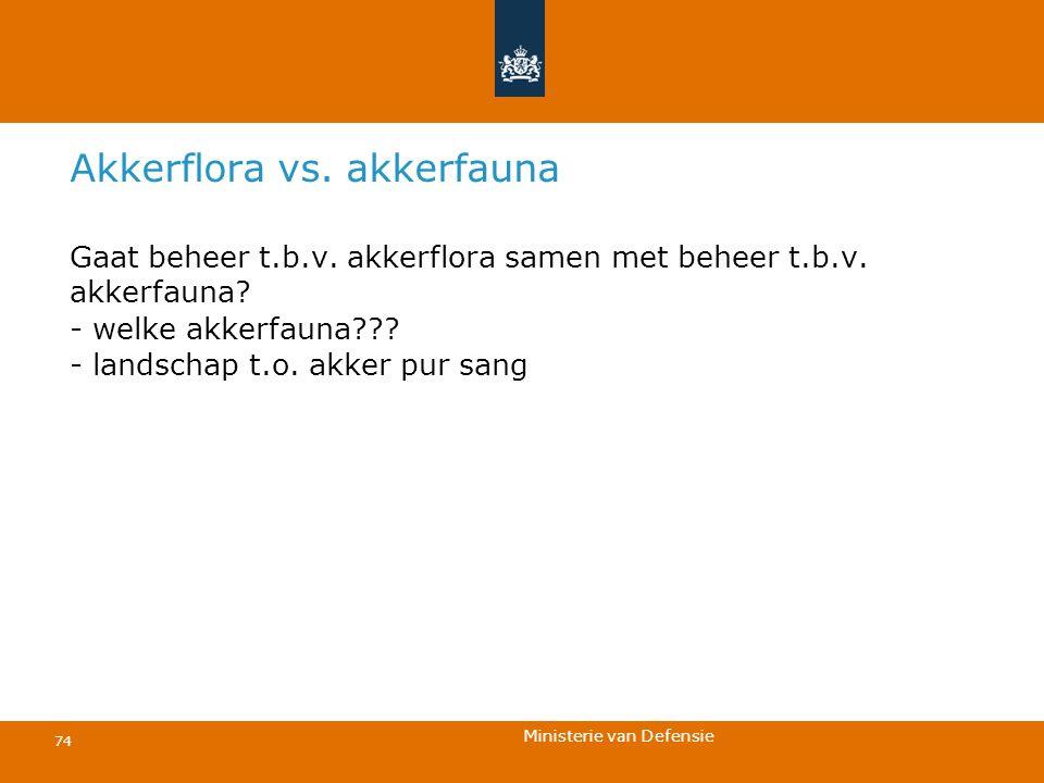 Ministerie van Defensie 74 Akkerflora vs. akkerfauna Gaat beheer t.b.v. akkerflora samen met beheer t.b.v. akkerfauna? - welke akkerfauna??? - landsch