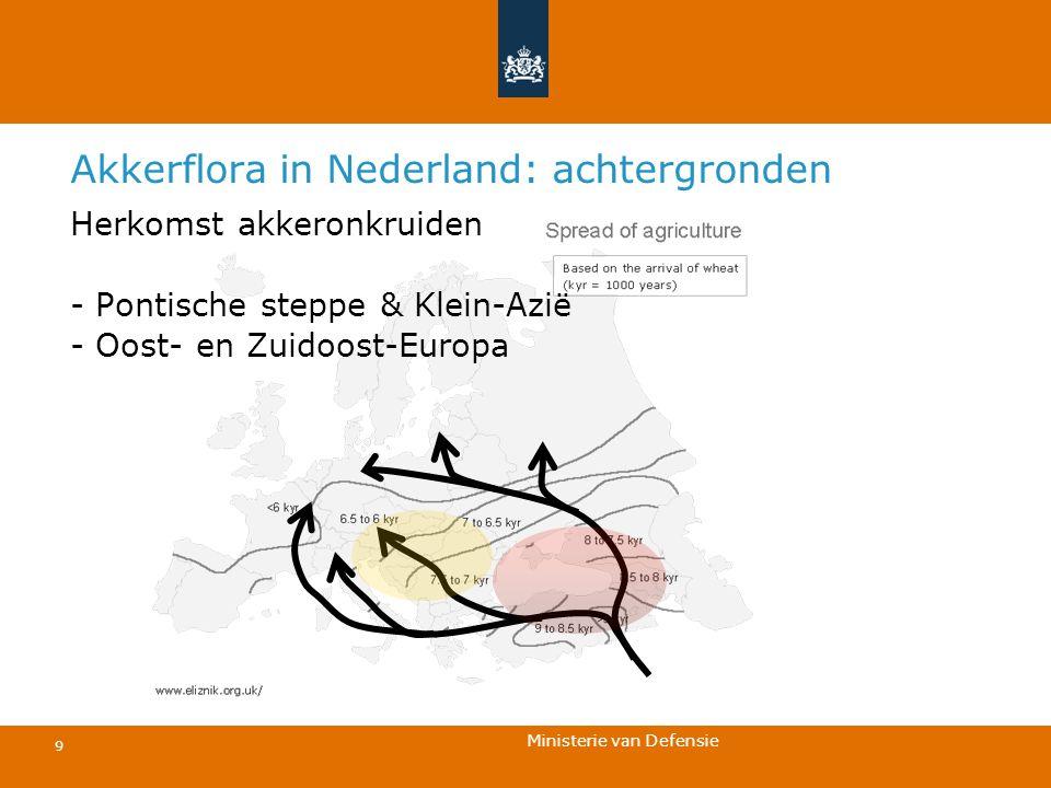 Ministerie van Defensie 9 Akkerflora in Nederland: achtergronden Herkomst akkeronkruiden - Pontische steppe & Klein-Azië - Oost- en Zuidoost-Europa