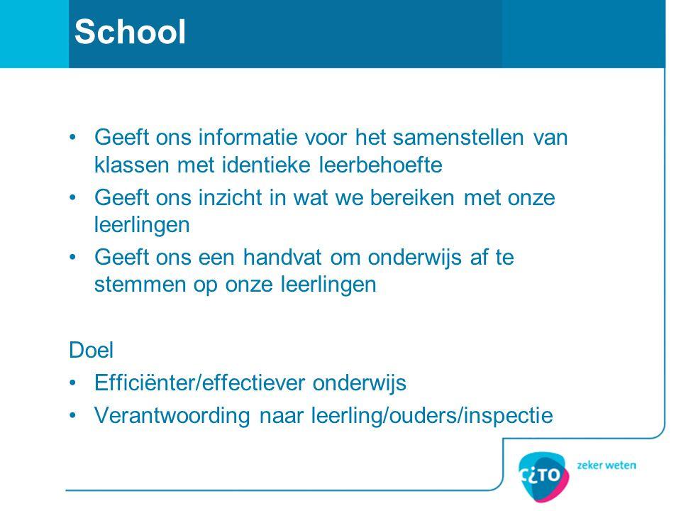 School •Geeft ons informatie voor het samenstellen van klassen met identieke leerbehoefte •Geeft ons inzicht in wat we bereiken met onze leerlingen •G