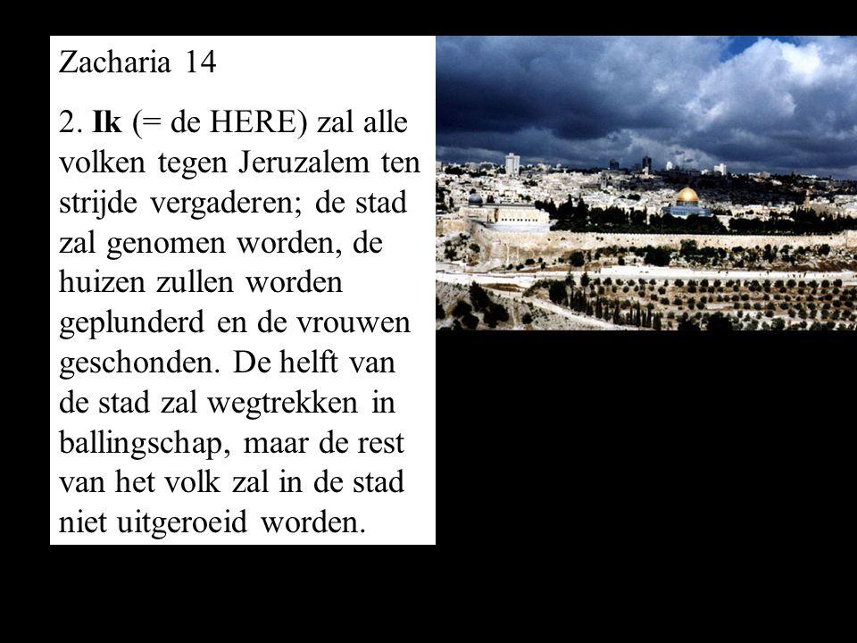2. Ik (= de HERE) zal alle volken tegen Jeruzalem ten strijde vergaderen; de stad zal genomen worden, de huizen zullen worden geplunderd en de vrouwen